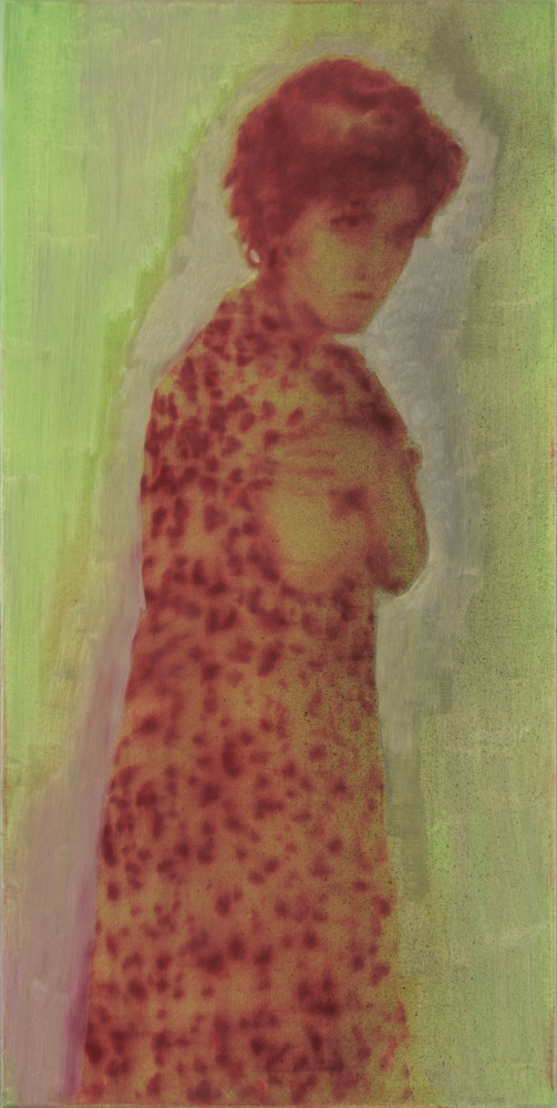 woman with green background o,c. 80x40cm. 2010