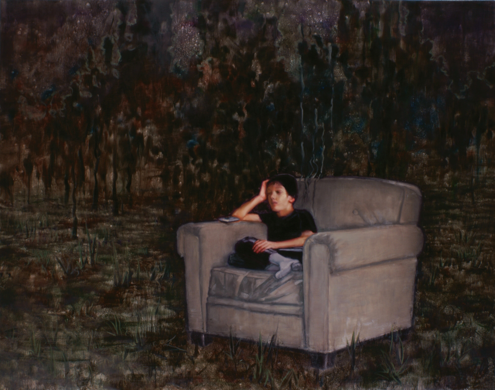Leo is sitting in an armchair o,c. 190x240cm. 2011