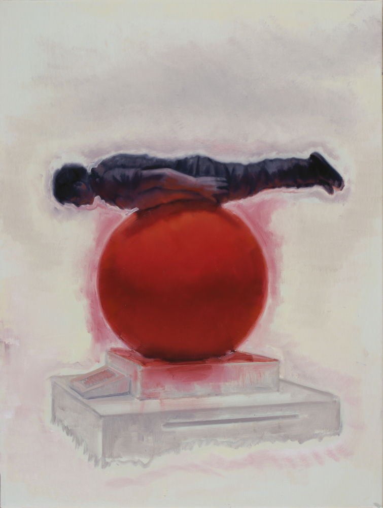 attila szucs, planking on a red globe o,c. 80x60cm. 2012