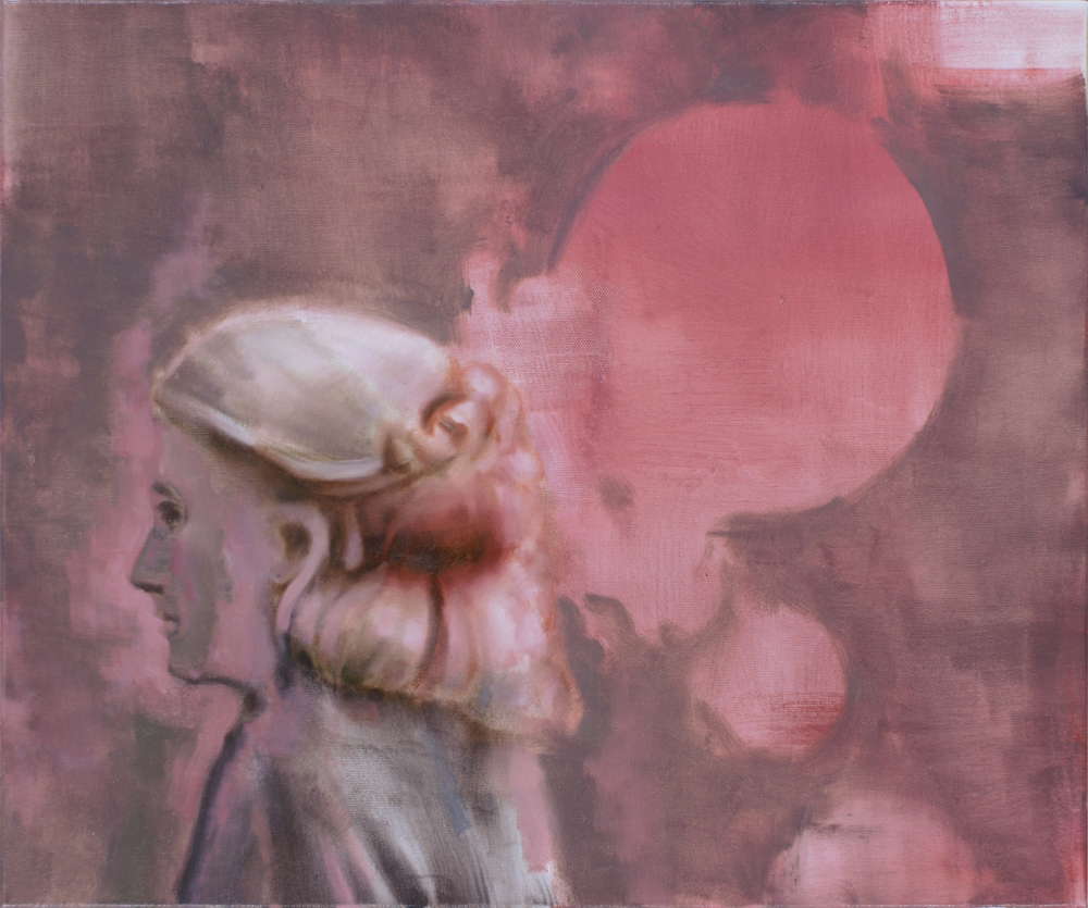 attila szucs, woman with pink bubble o,c. 60x50cm. 2012
