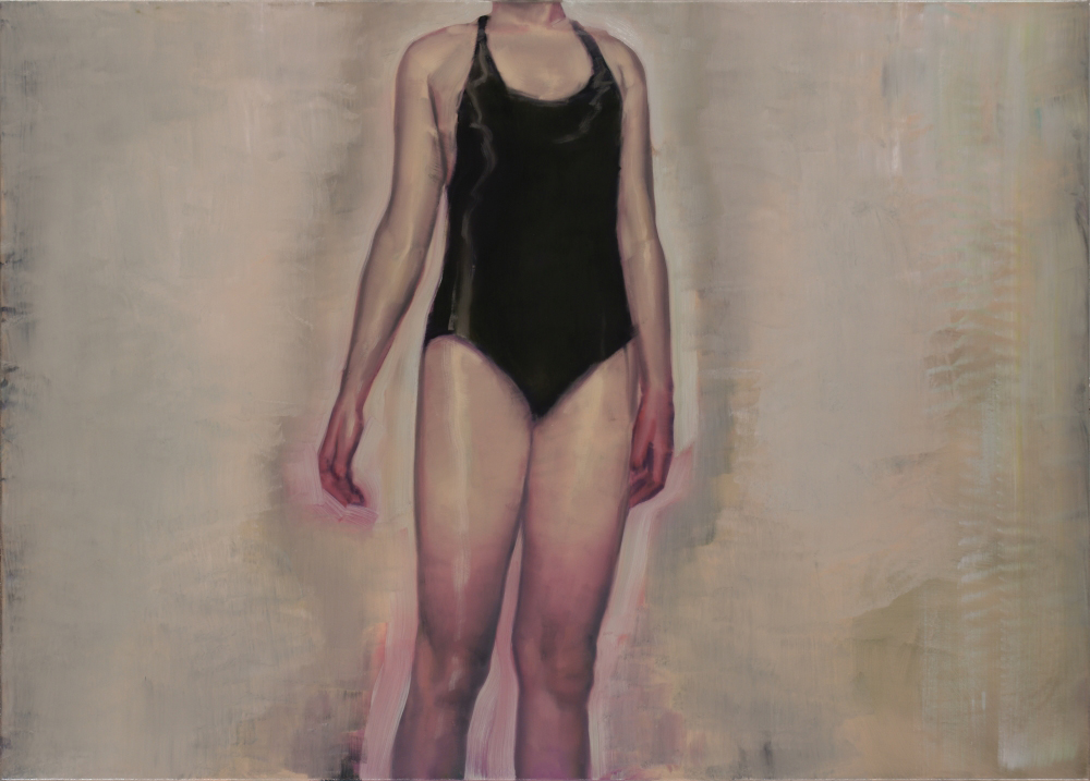 attila szucs, black swimsuit, oil on canvas, 70x100cm. 2013