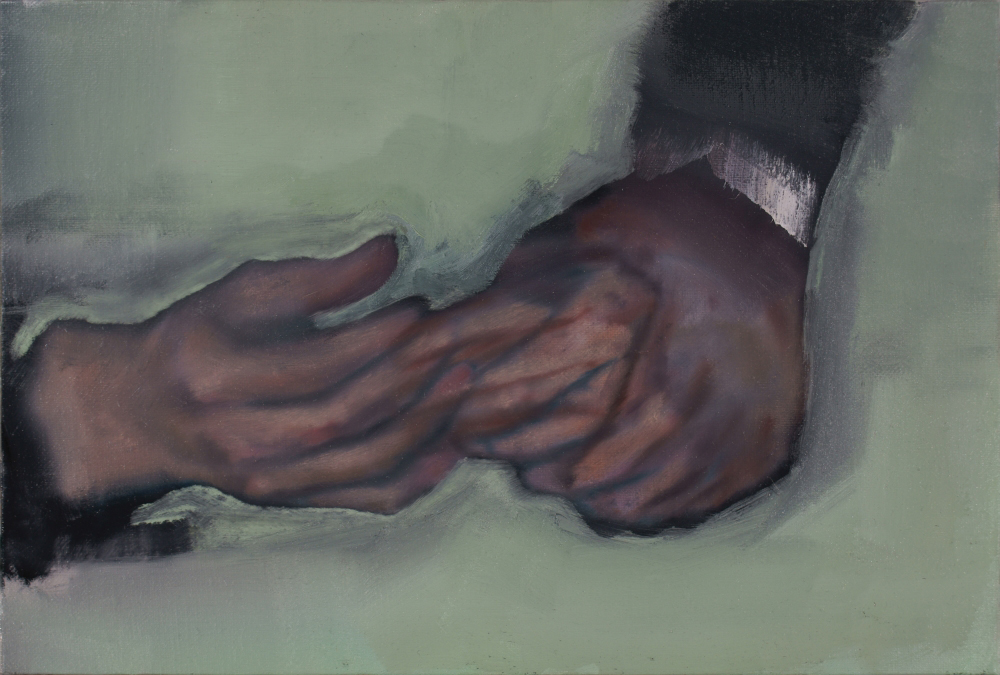 attila szucs, merging hands, oil on canvas mounted on board, 27x40cm. 2013