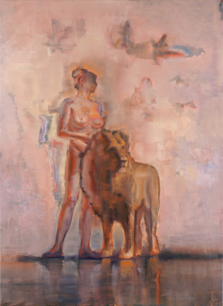 attila szucs, nude with lion, oil on canvas, 220x160cm. 2013