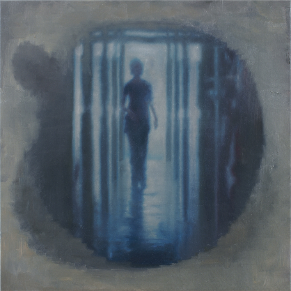 walking woman in a mirror-room o,c. 80x80cm. 2008