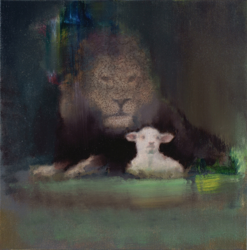 lion with sheep, oil on canvas mounted on plywood, 35x35cm. 2015