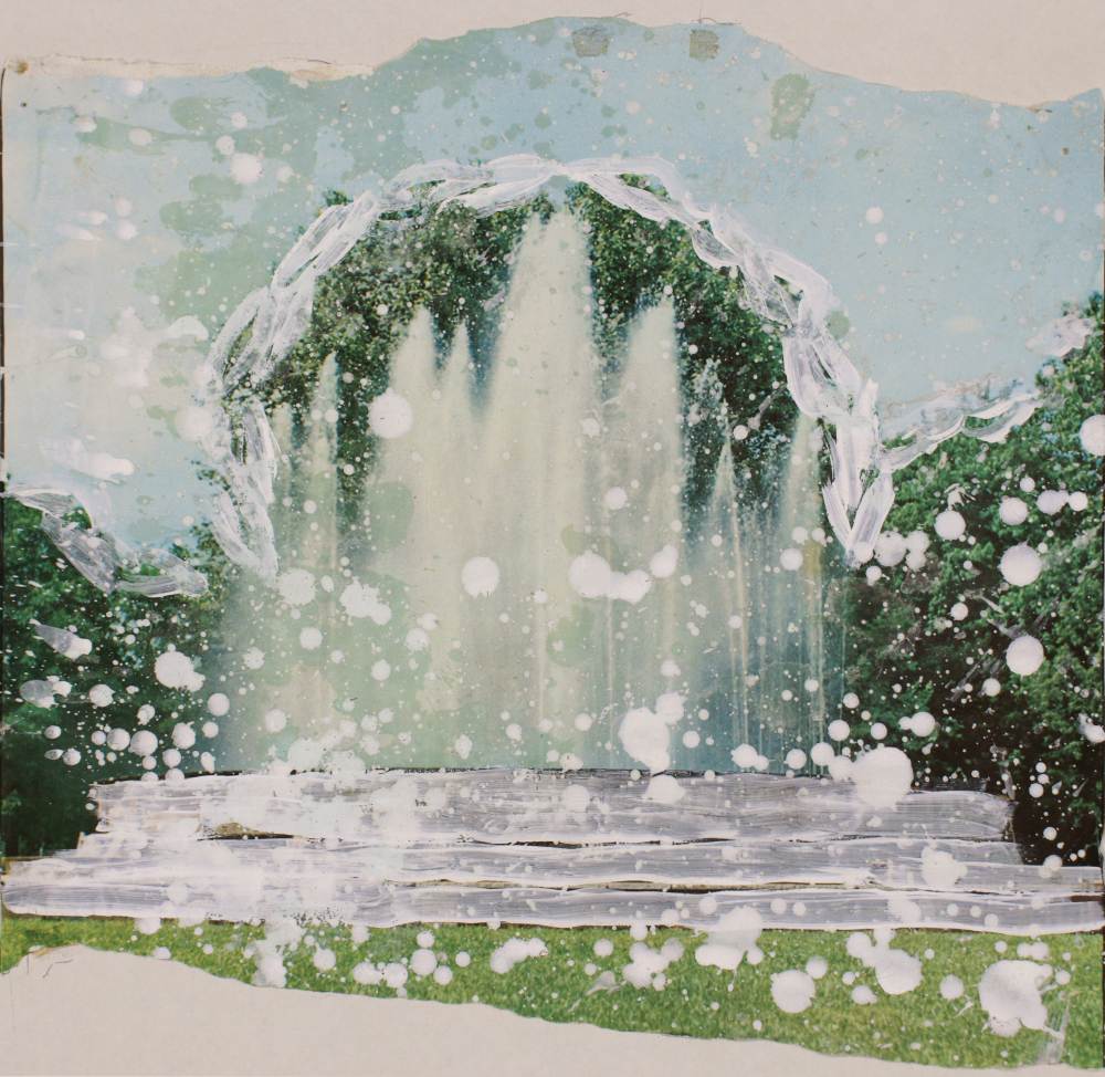 Attila Szucs, fountain, akril on newspaper, 38x38cm 1988