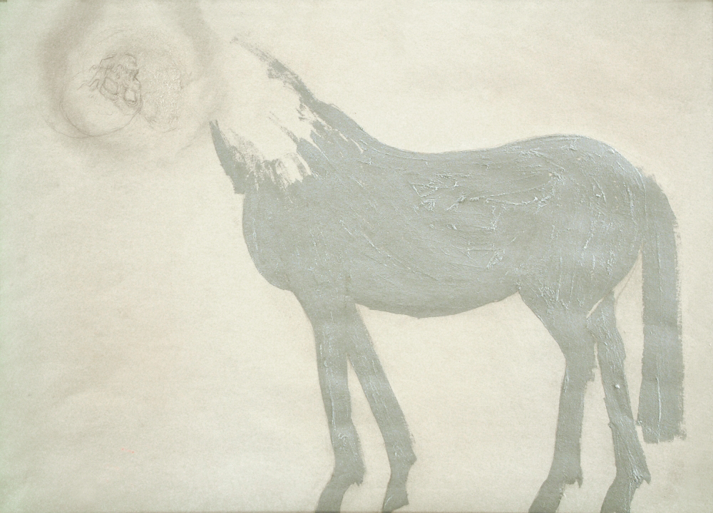 horse with skull, paper, mix. tech. A3 1989