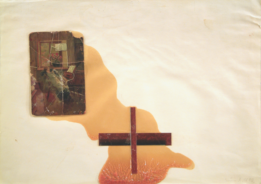 without title ,cross,  paper, mix. tech. A3 1990