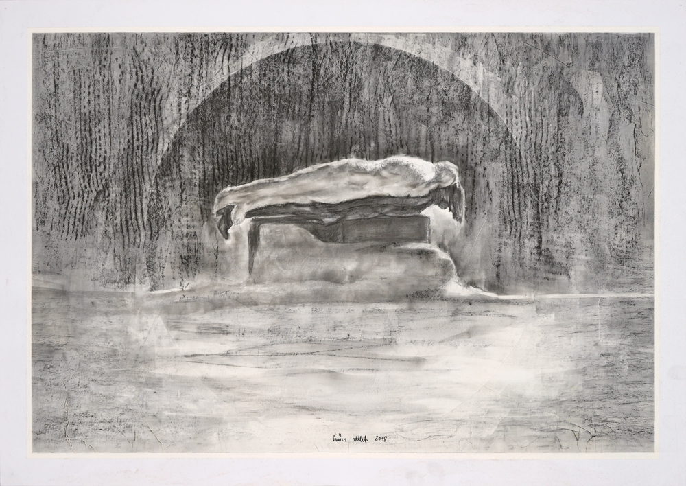 Drawing, graphite on gesso on paper, 42x59,7cm 2018 03 12