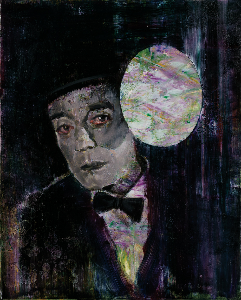 study of Buster Keaton, acrylic and oil on canvas, 50x40cm. 2018-19