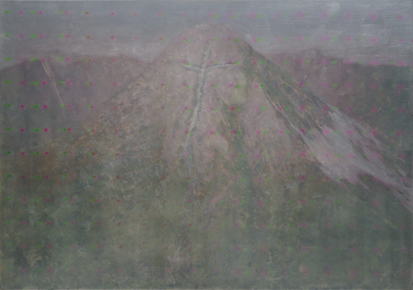mountain with cross-formed glacier o,c. 140x200cm 2000