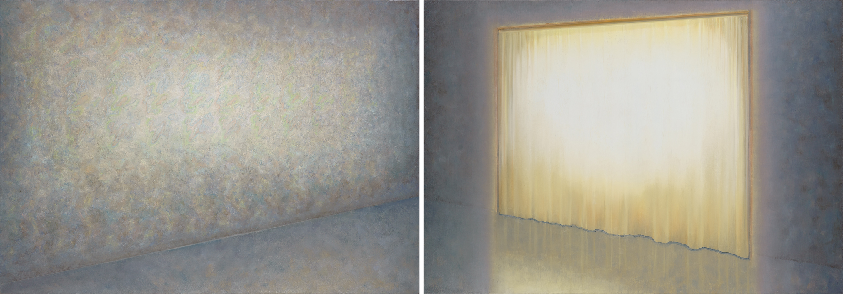 room with yellow curtain and wallpaper o,c. 140x400cm. diptich. 2001