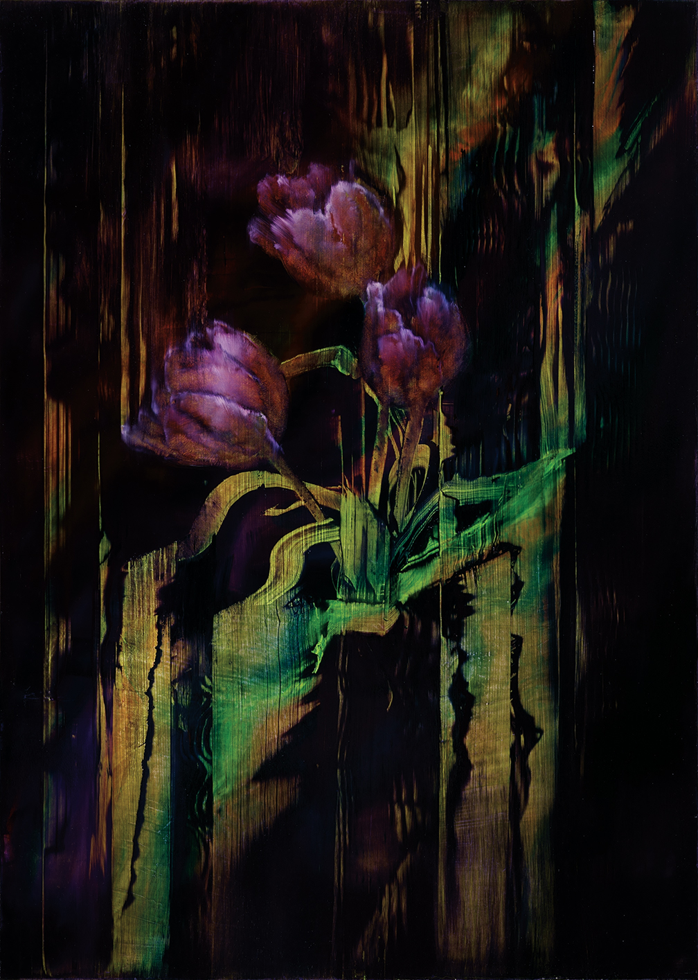 dissolving tulips, oil on gesso on plywood, 70x50cm. 2020