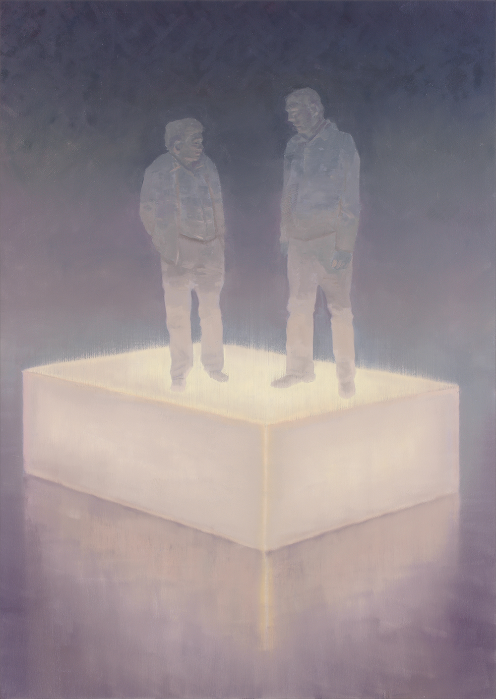 two figures standing on a lightbox o,c. 140x100cm. 2008