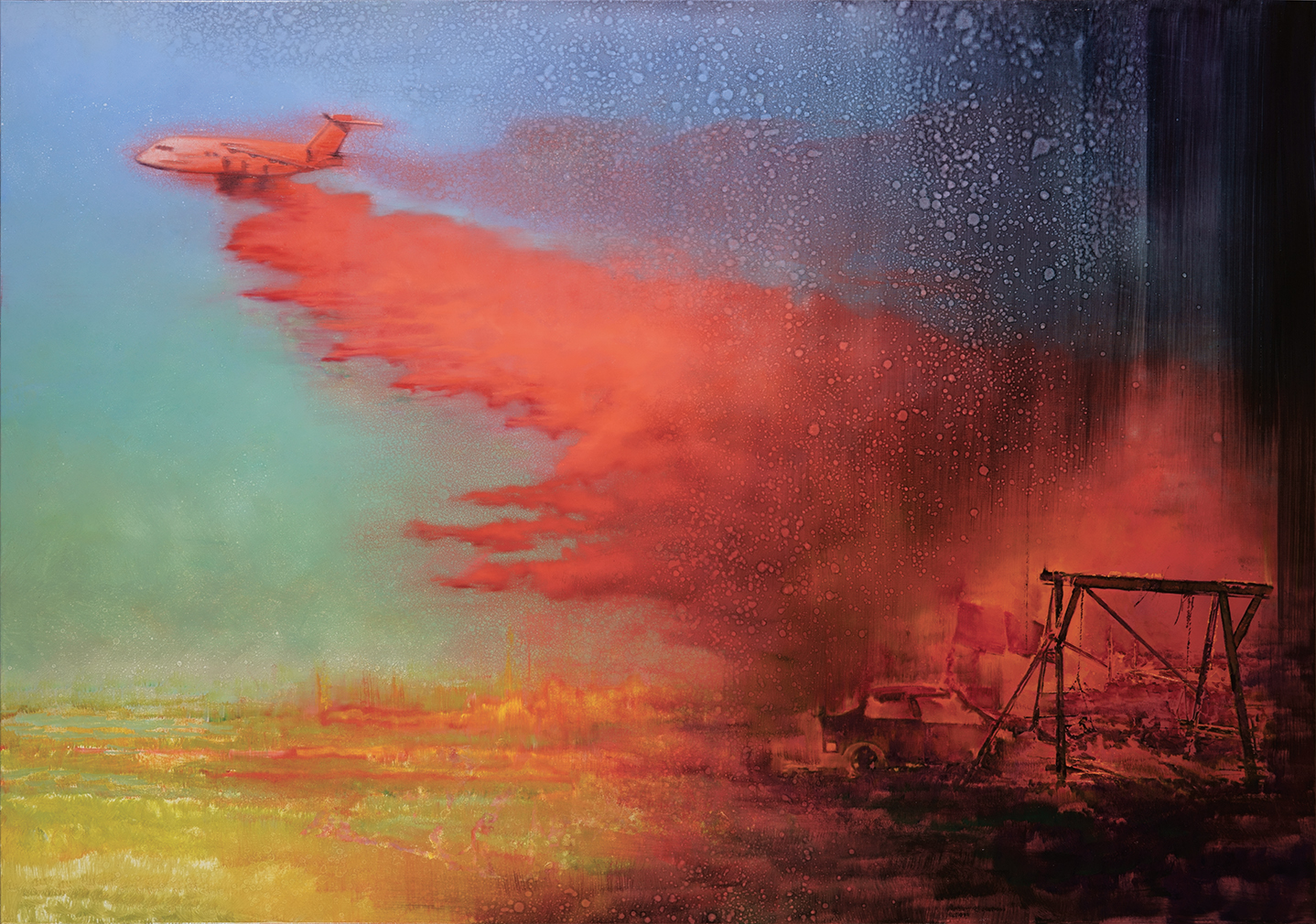 burning playground, oil on canvas. 140x200cm. 2020