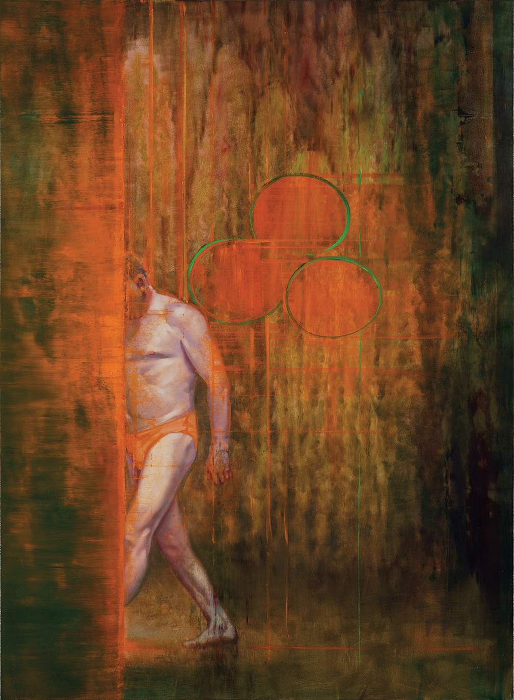 man is stepping into a  red vertical, oil on canvas 190x140cm. 2010-2020