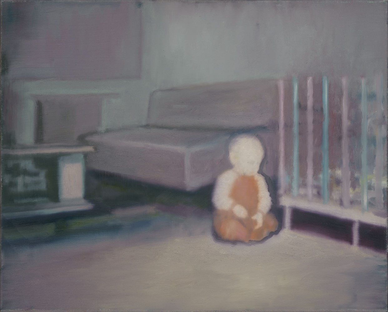 sitting child in a room, oil on canvas. 40x50cm 2006
