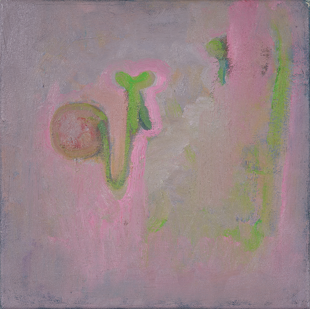 fruit with pink and lightgreen, oil on canvas. 25x25cm 2004